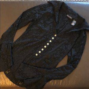 New York & Co black lace bell sleeve button down